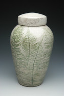 Handcrafted Fern Raku Ceramic Cremation Urn