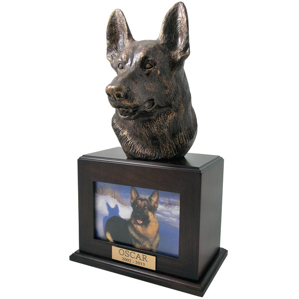 German Shepherd Urn With Photo Frame In Walnut