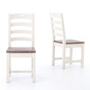 Beach Cottage Solid Wood Ladder Back Dining Chairs
