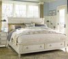Country-Chic Wood Queen Size White Edgewood Storage Bed