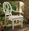 Country-Chic Maple Wood White Pierced Back Dining Arm Chair