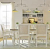 Country-Chic Woven Wicker Back Upholstered Kitchen Chairs, White Wood