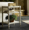 Country-Chic Maple Wood White End Table With Shelf