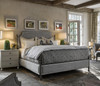 Sojourn Respite Grey Linen Upholstered Queen Wrought Iron Poster Bed