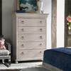Belgian Cottage Carved Tallboy Chest Dresser - Antiqued White