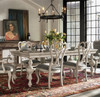 French Country Gray Velvet Upholstered Cabriole Dining Chairs, scroll back