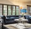 Belgian 3-Cushion Navy Velvet Tufted Chesterfield Sofa