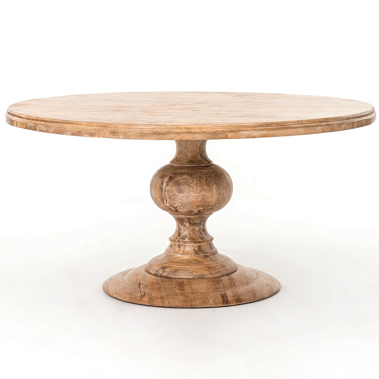 "60"" round pedestal dining table in whitewash 