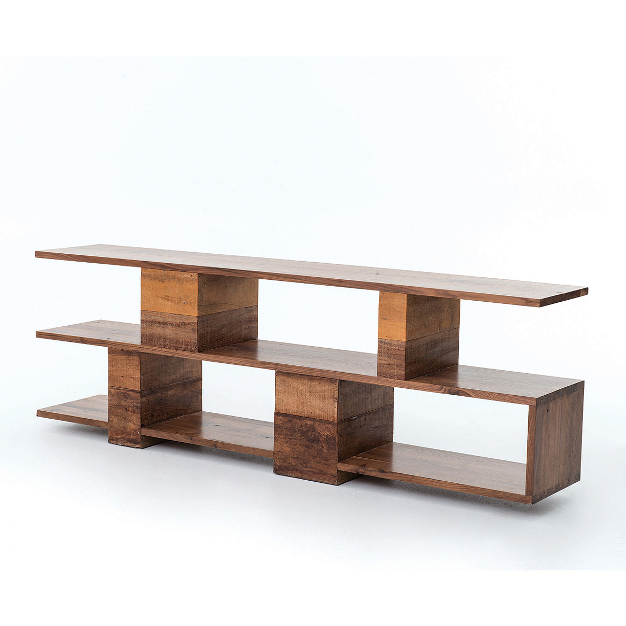 bina geometric ginger reclaimed wood console table