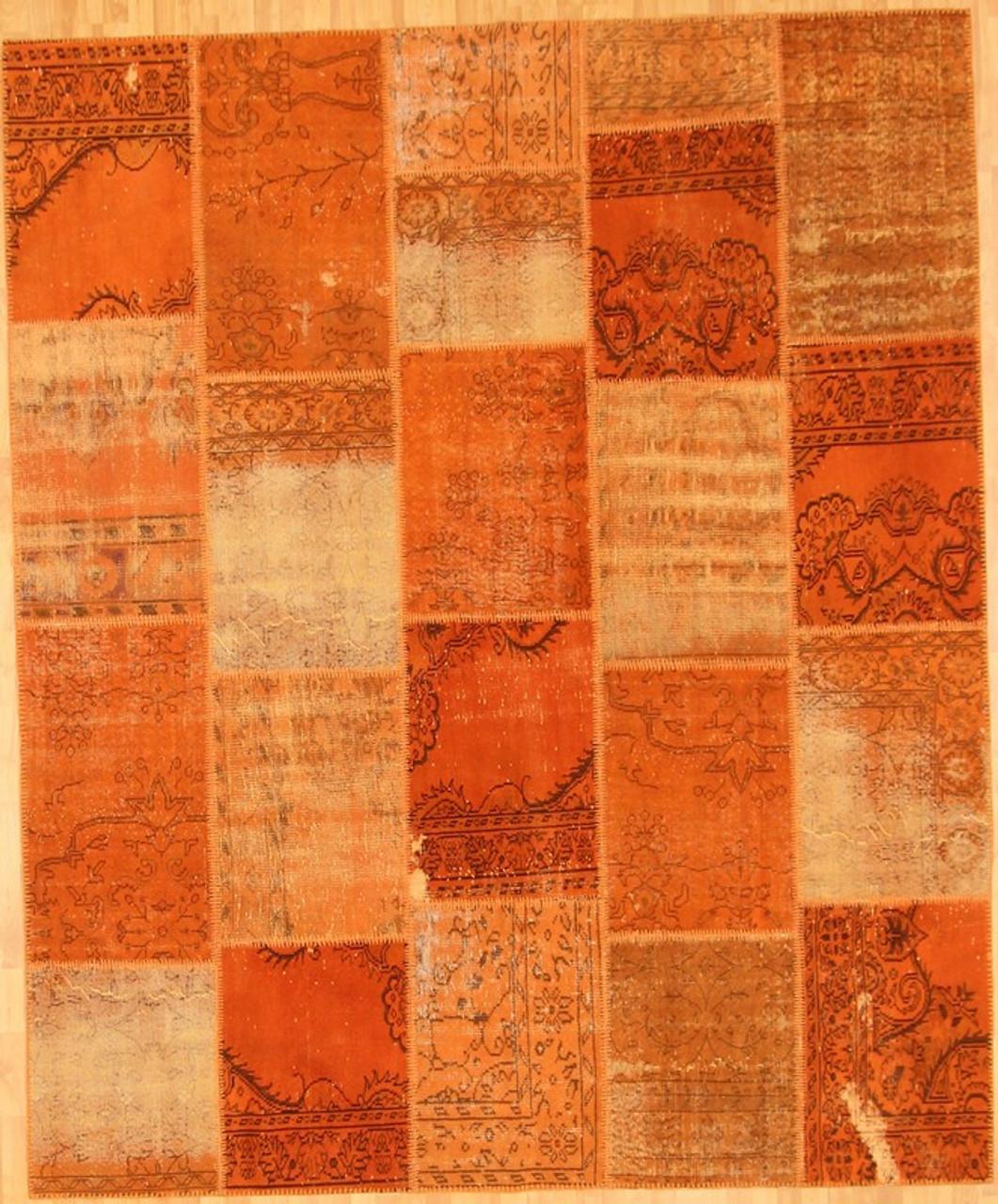 Turkish Rug Orange: Turkish Patchwork Rugs- Orange Tangelo