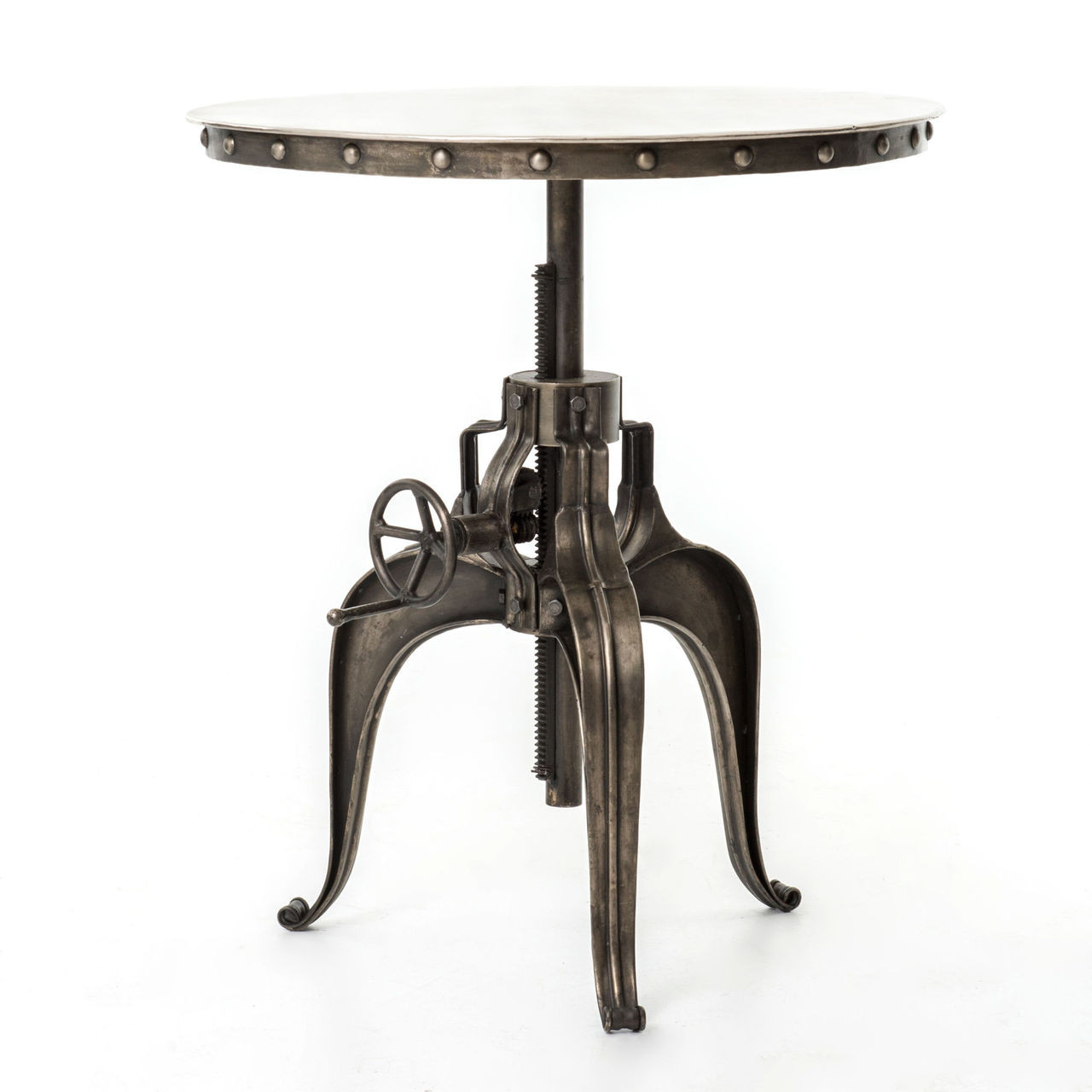 "Industrial Crank Table Element Industrial Metal Bistro Crank Table 30""  Nickel  Zin Home"