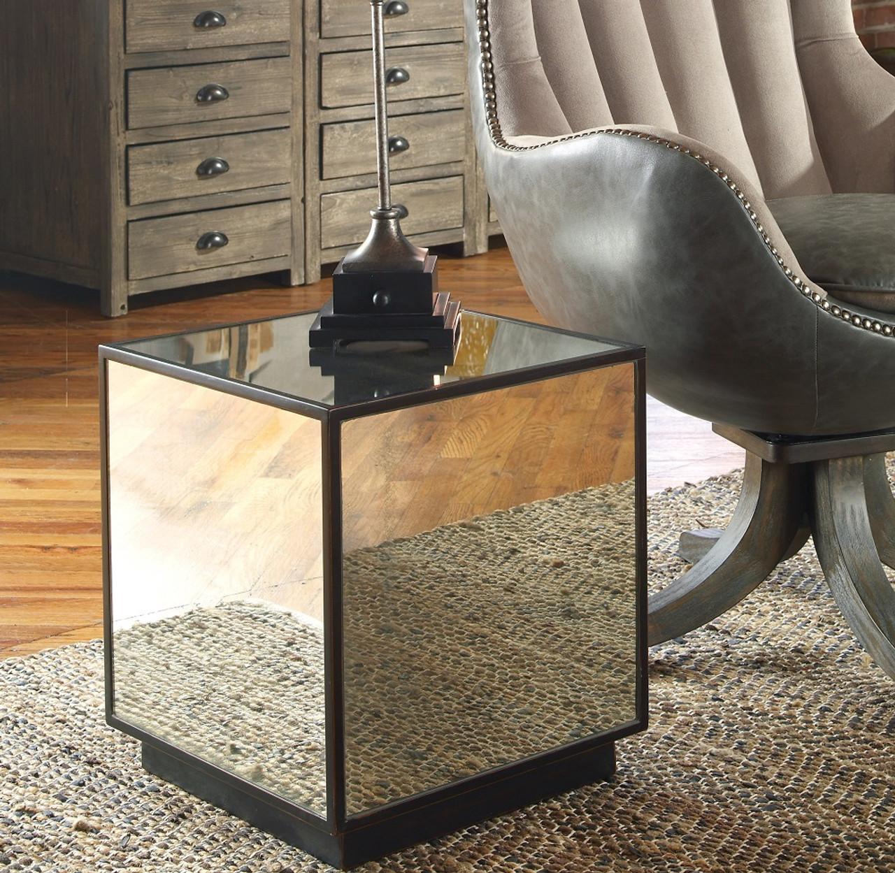 Elegant Matty Cube Mirrored Side Table
