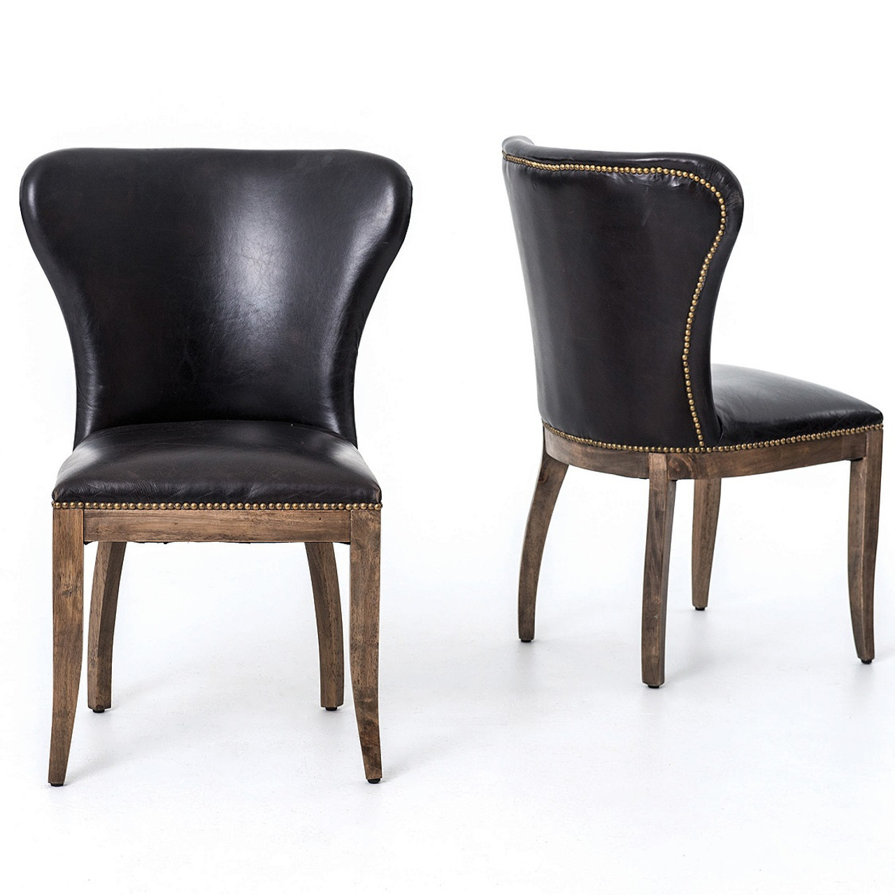 Richmond Black Leather Wingback Dining Chair With