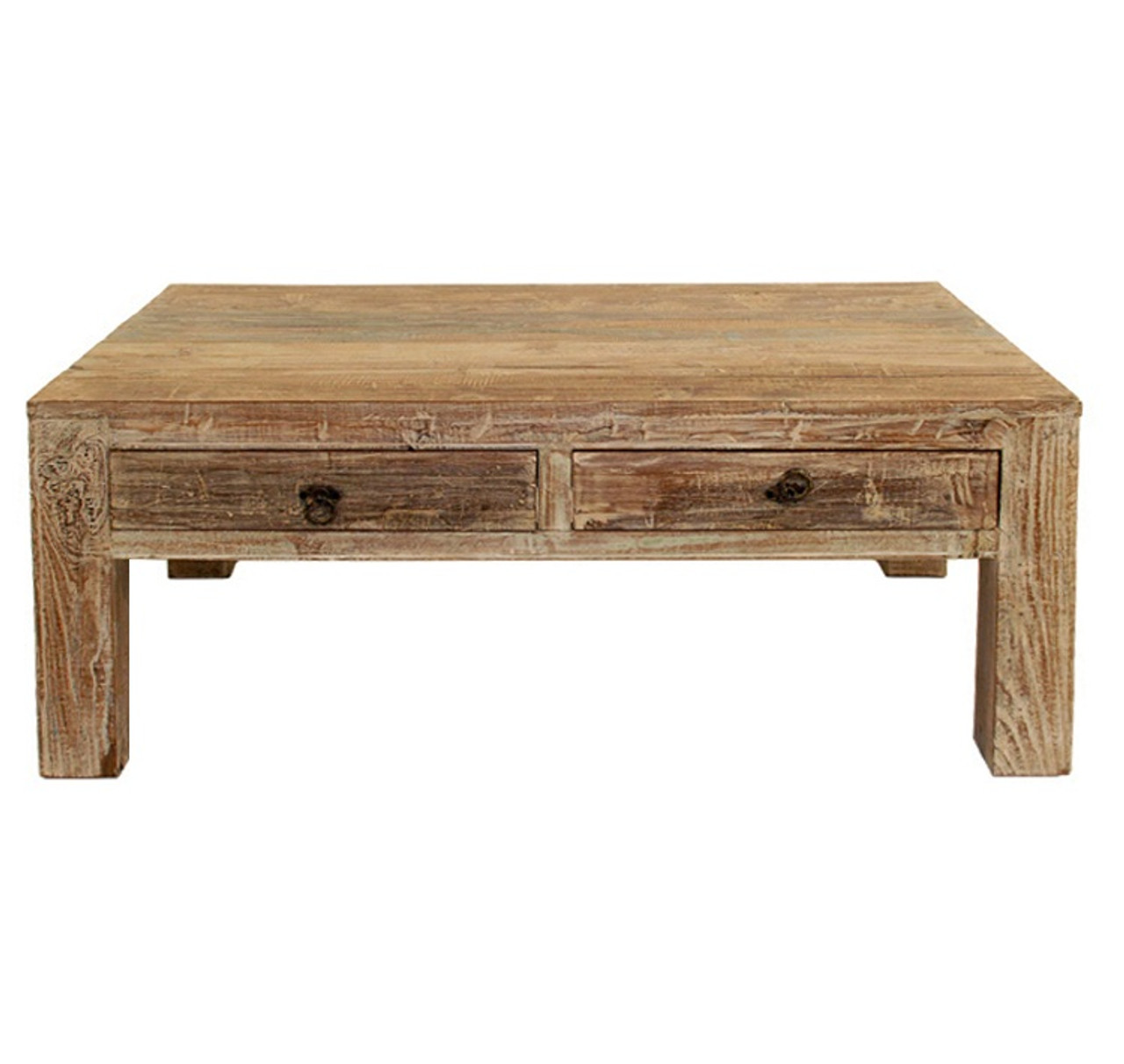 Hampton reclaimed wood coffee table with 2 drawers zin home for Reclaimed teak wood coffee table
