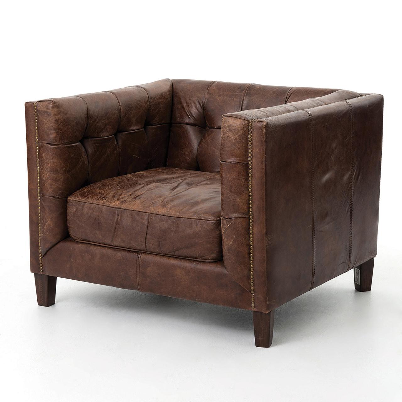 Abbott Vintage Cigar Tufted Leather Club Chair