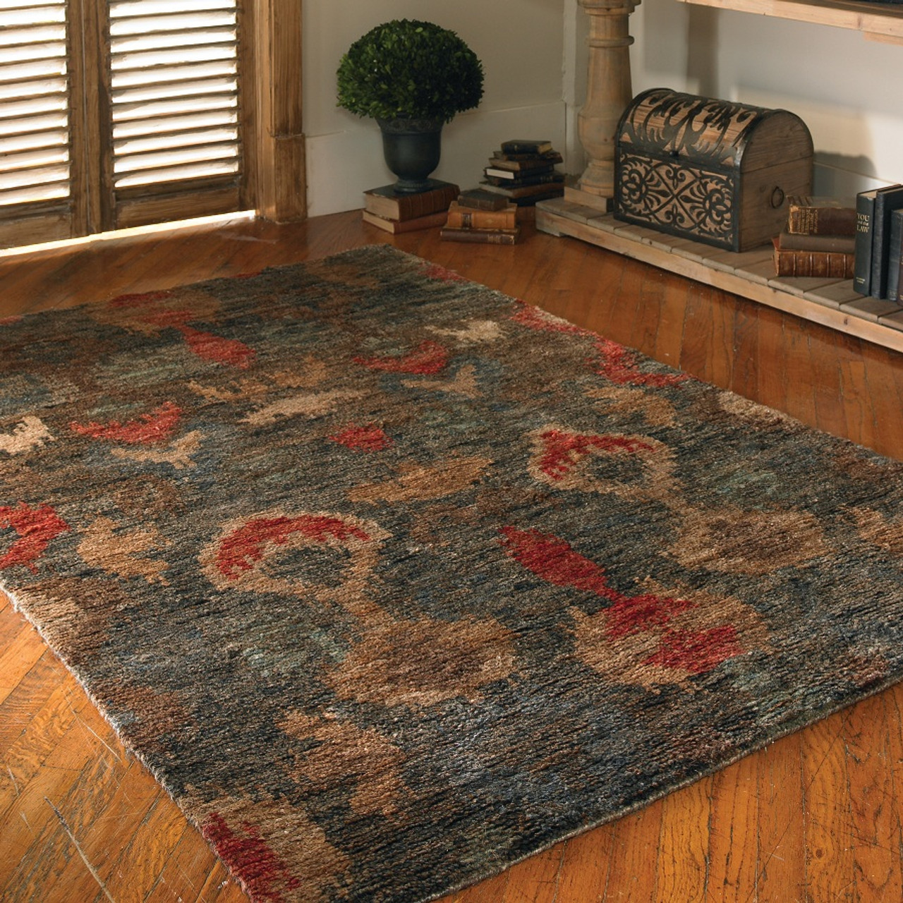 Hand Knotted Ikat Blue Amp Red Area Rugs Zin Home