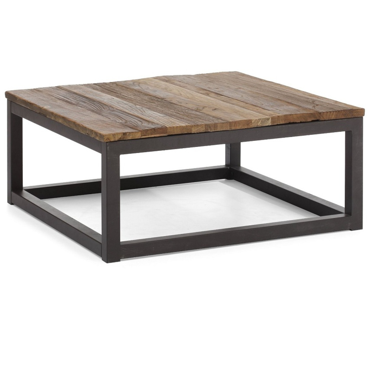Civic wood and metal square coffee table zin home for Large wood coffee table square