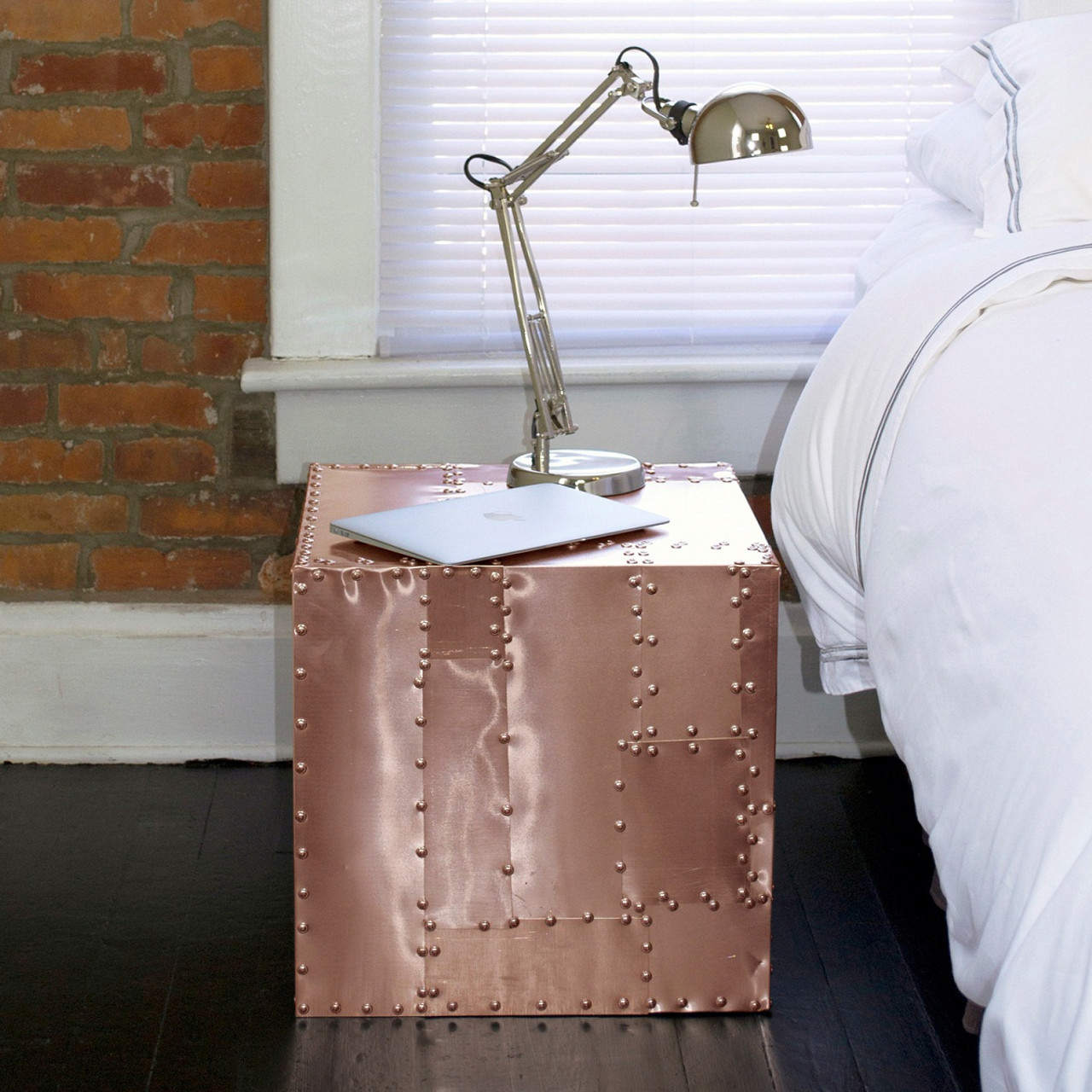Deco Crate Side Table   Copper