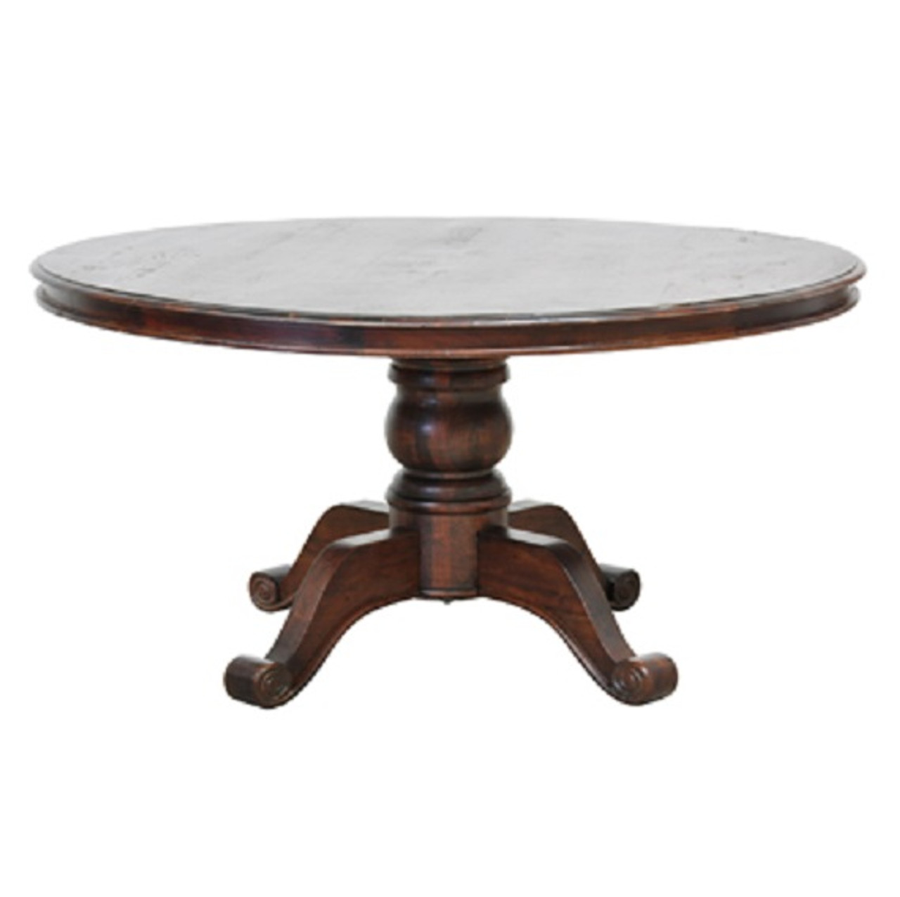 Hampton 60 round pedestal wood dining table in brown for Dining room table 42 x 60