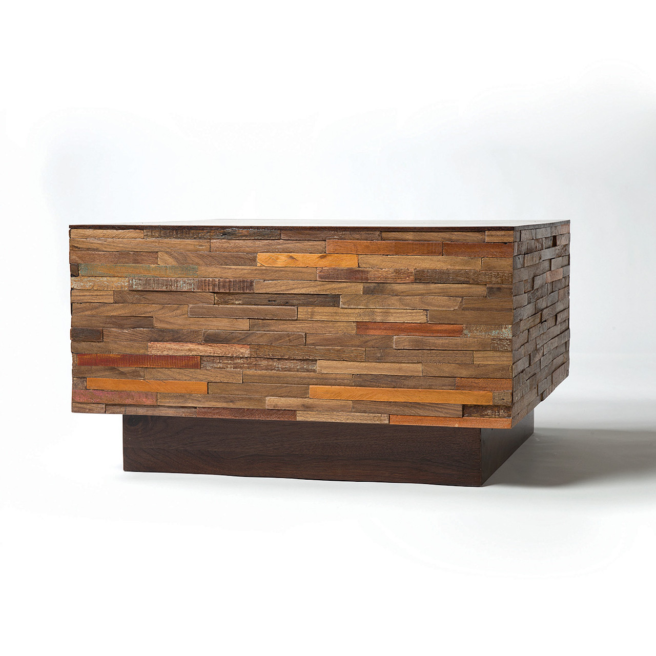 Reclaimed Wood Coffee Table Square: Landon Mixed Wood Square Coffee Table
