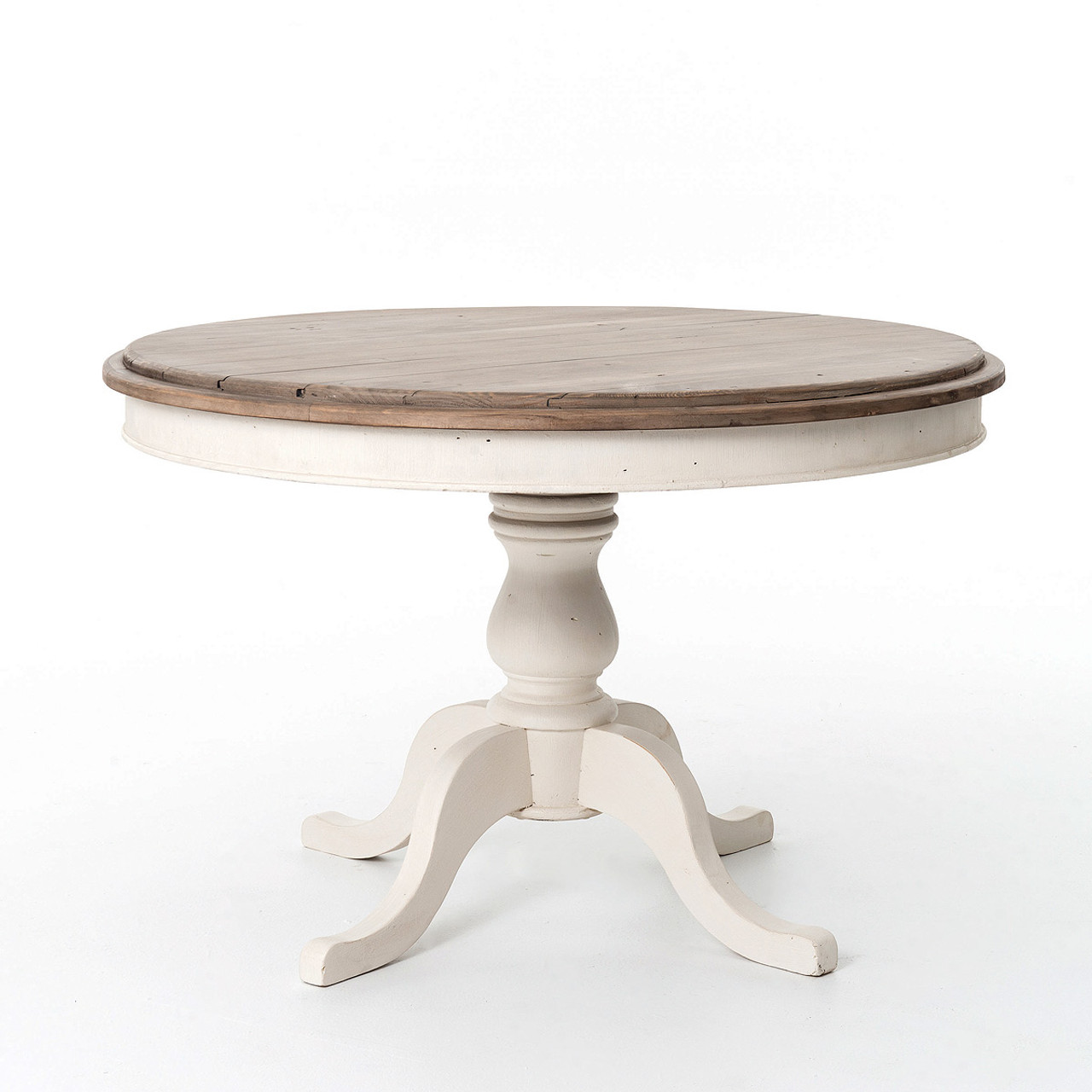 cottage round pedestal white kitchen table 47"