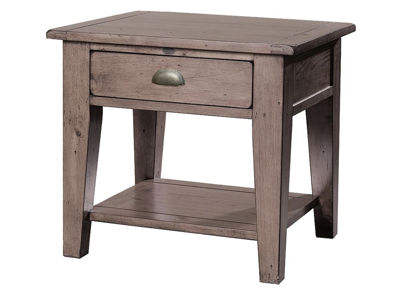 Rustic Solid Wood 11 Drawer Rectangular Pedestal Home: Coastal Solid Wood Rustic Side Table With 1 Drawer