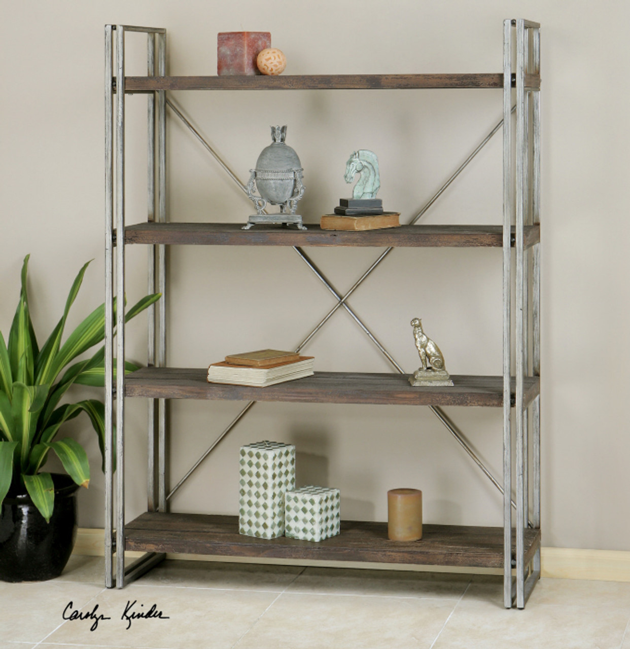 Greeley Industrial Metal And Wood Bookcase