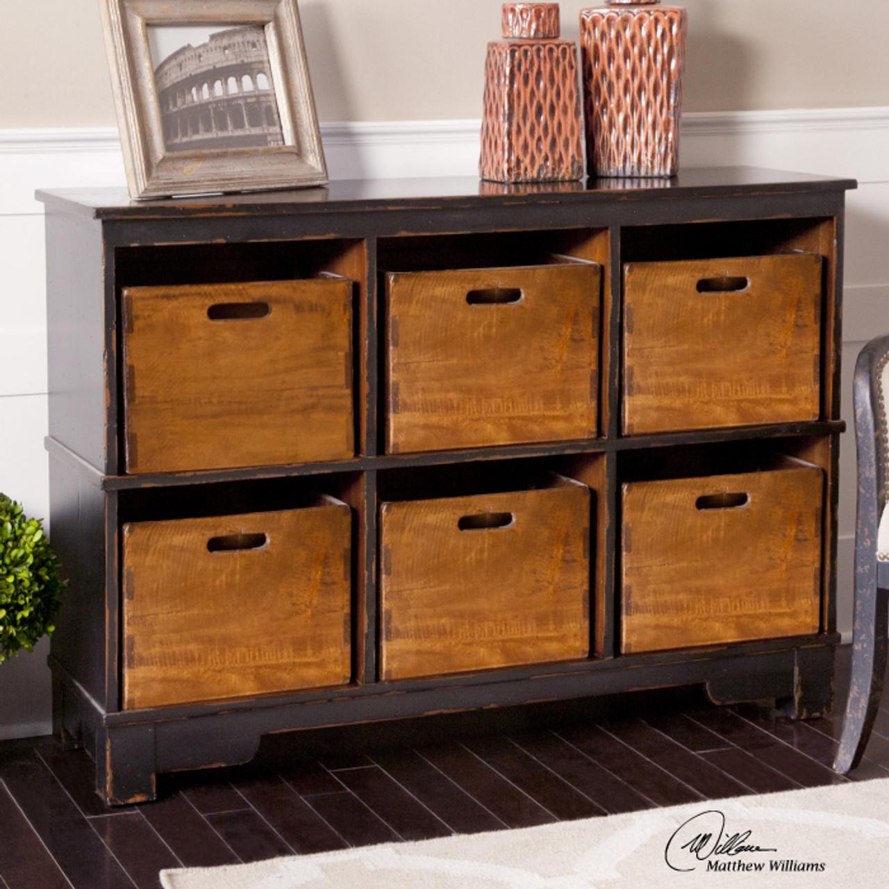 Ardusin Solid Wood 6 Cubby Storage