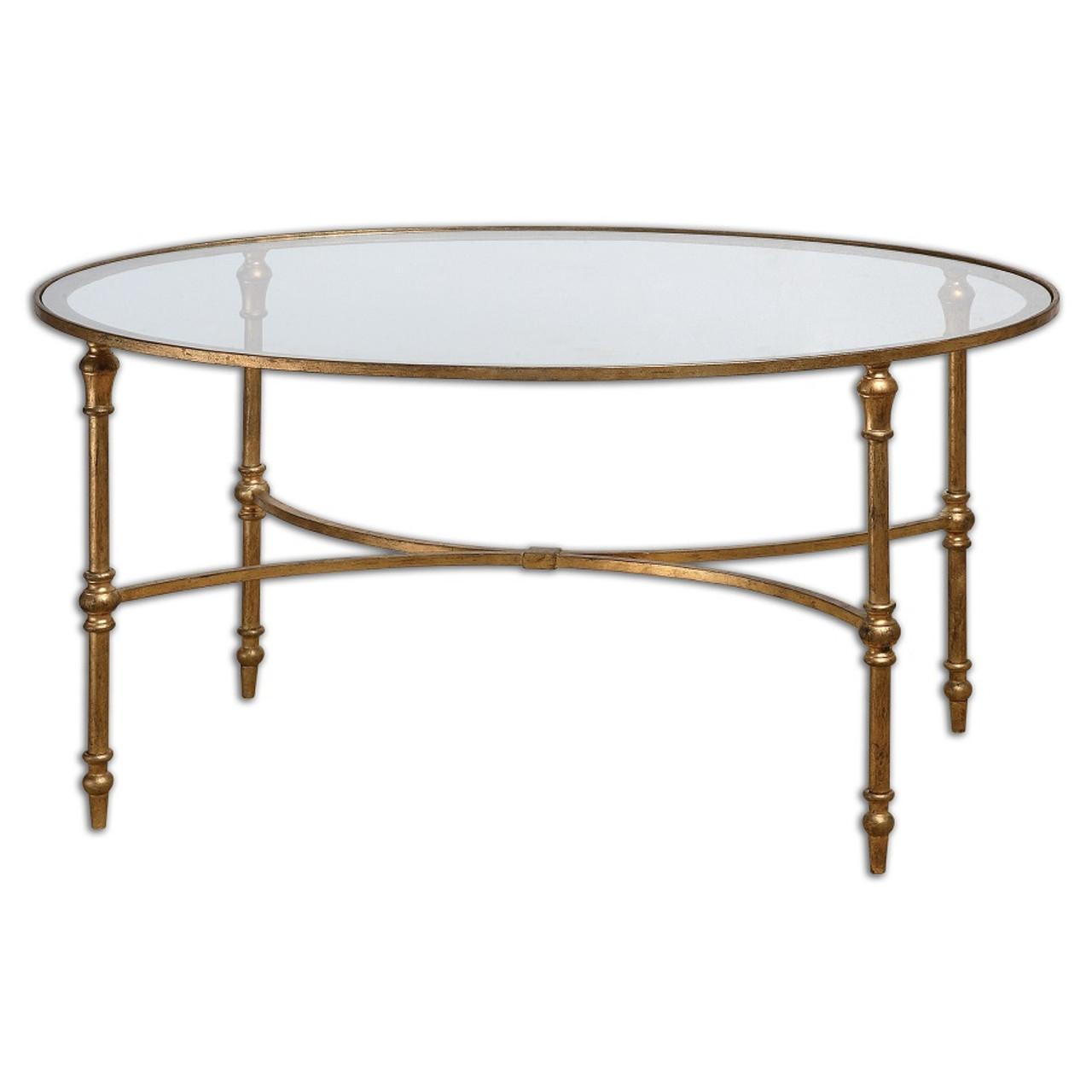 Vitya Gold Leaf Oval Glass Coffee Table Zin Home