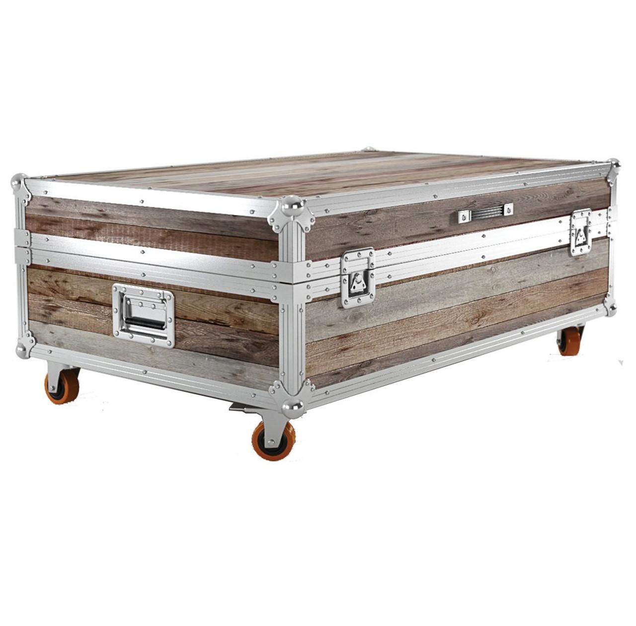 Industrial reclaimed teak wood large trunk coffee table for Large reclaimed wood coffee table