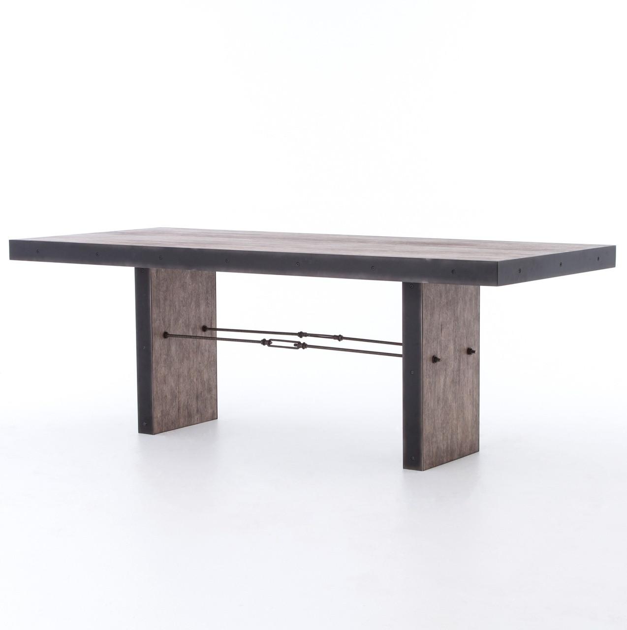 Gerard Driftwood Oak + Iron Dining Room Table - Gerard Driftwood Oak + Iron Dining Room Table Zin Home