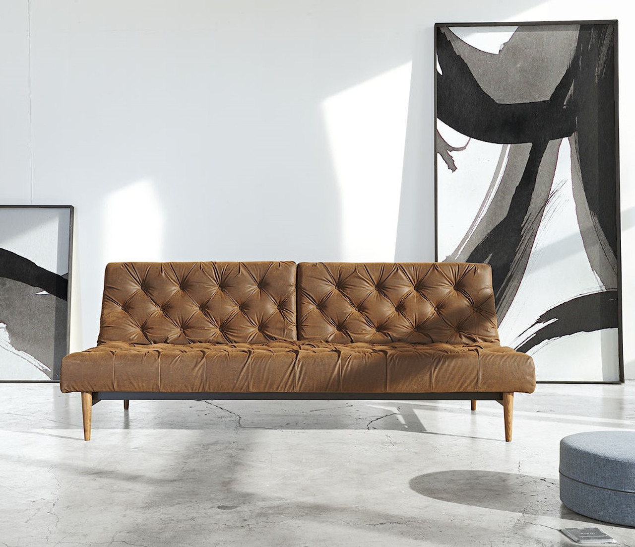 Captivating Innovation USA Oldschool Vintage Leather Chesterfield Sleeper Sofa Bed