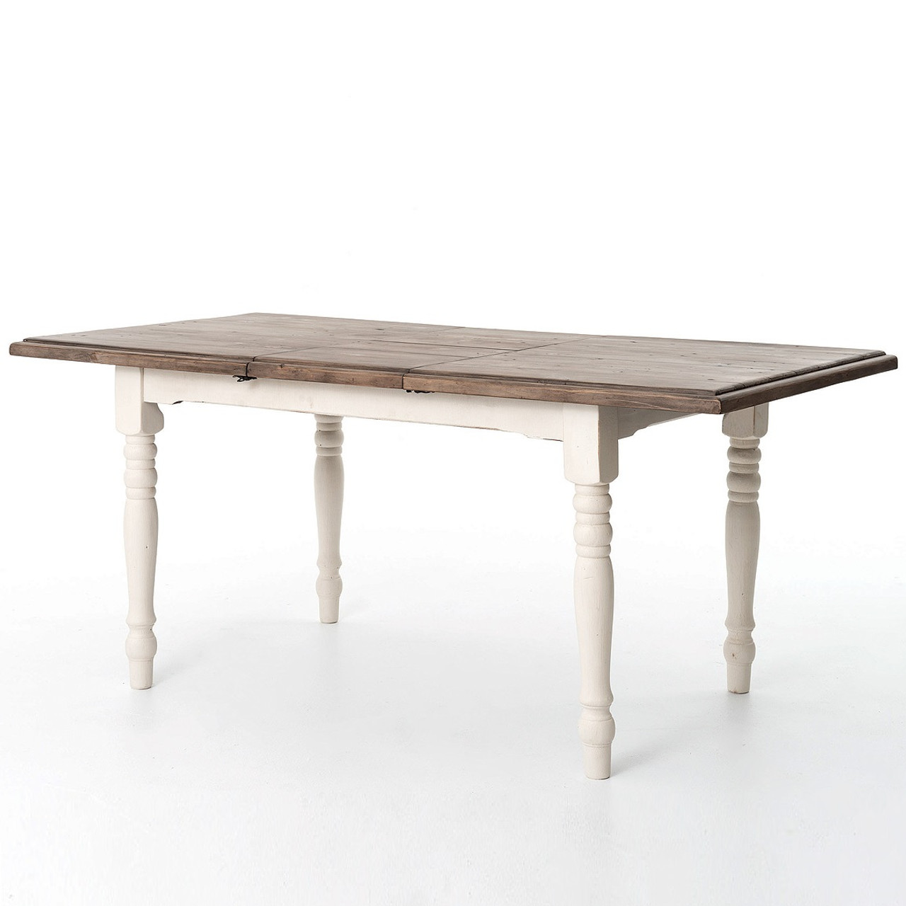 Cottage white extendable dining room table 71 zin home for White dining room table