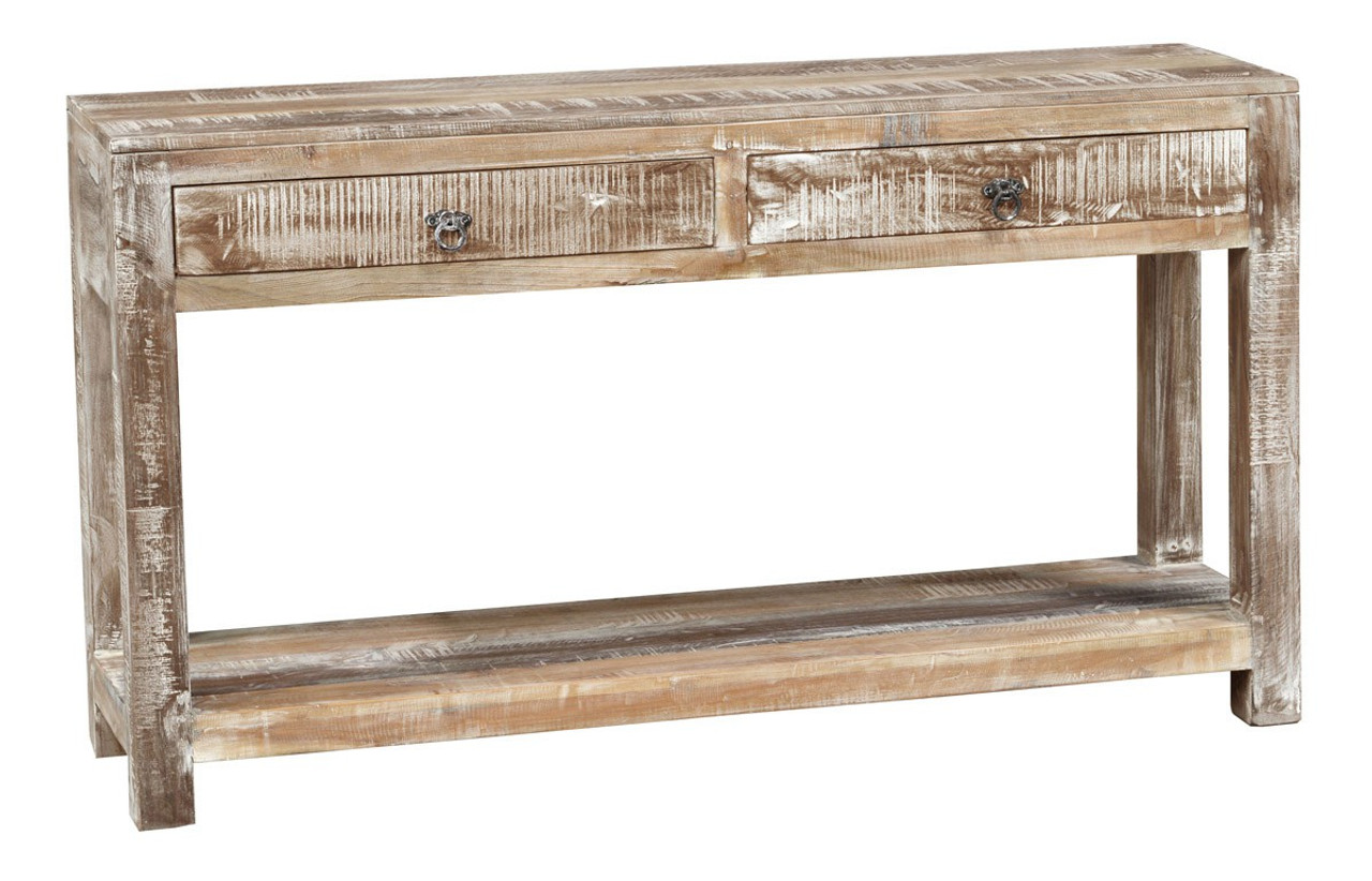 Hampton Reclaimed Wood Console Table With 2 Drawers