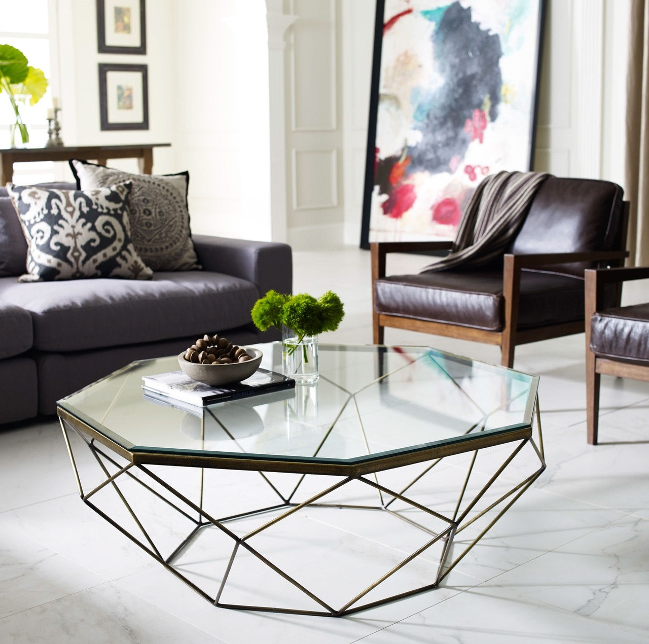Geometric Antique Brass Coffee Table With Glass Top