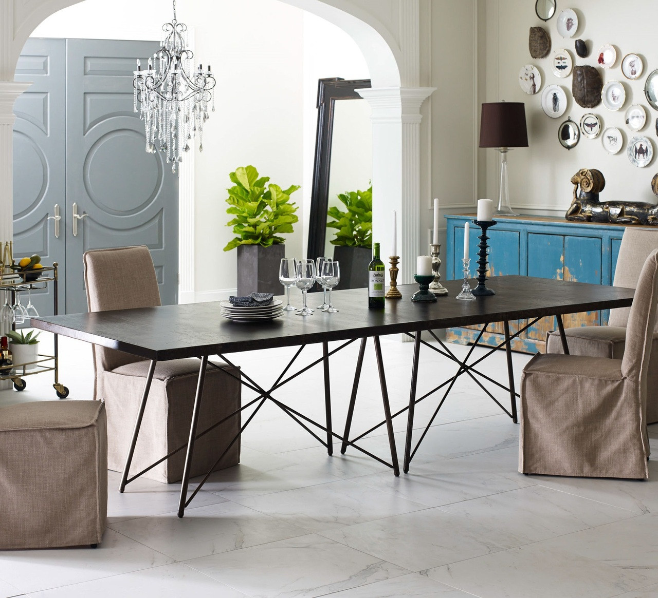 Industrial Kitchen Tables: Roman Oxidized Iron Industrial Geometric Dining Table 114