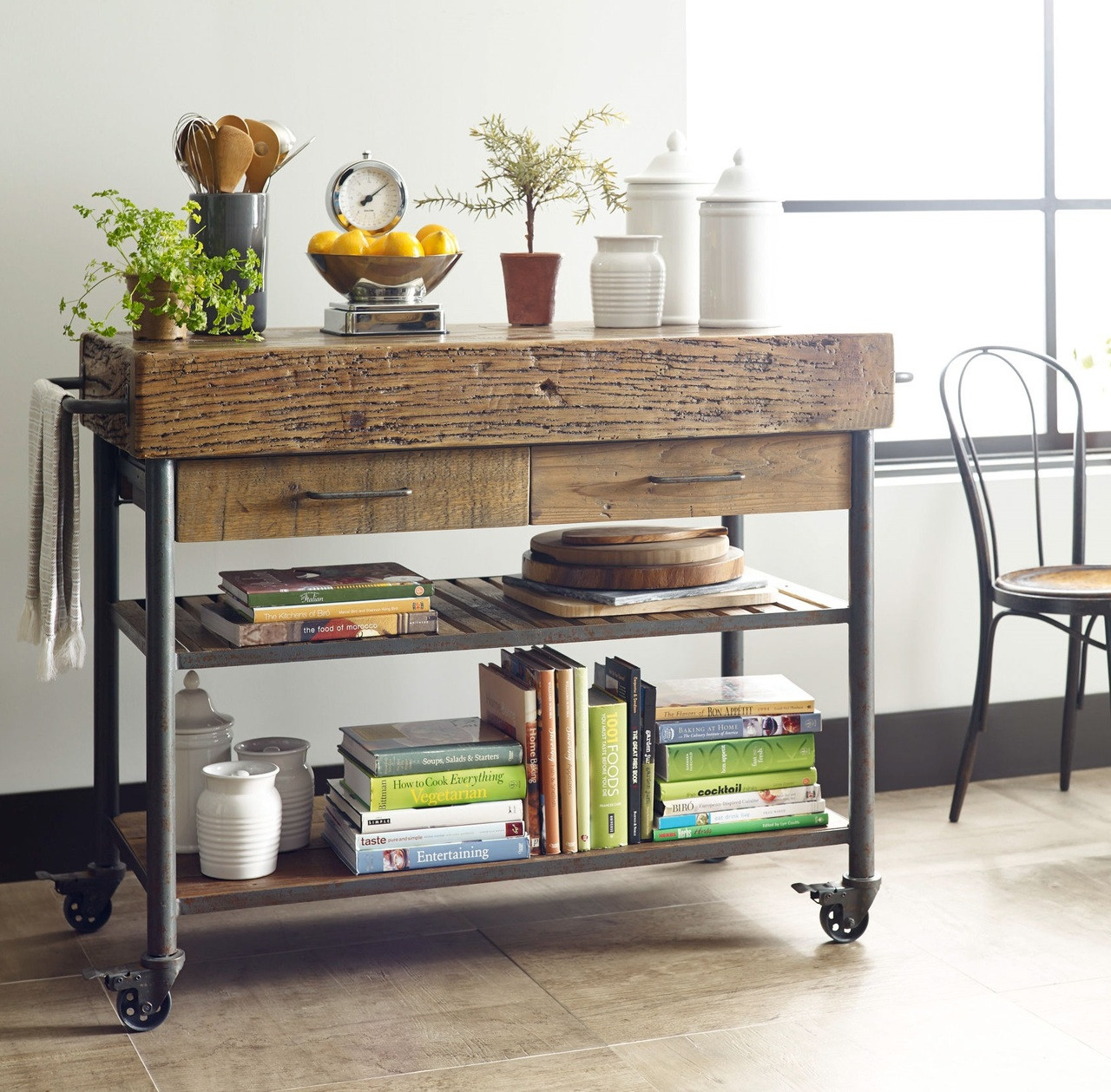 Industrial Reclaimed Wood Kitchen Island Cart On Wheels