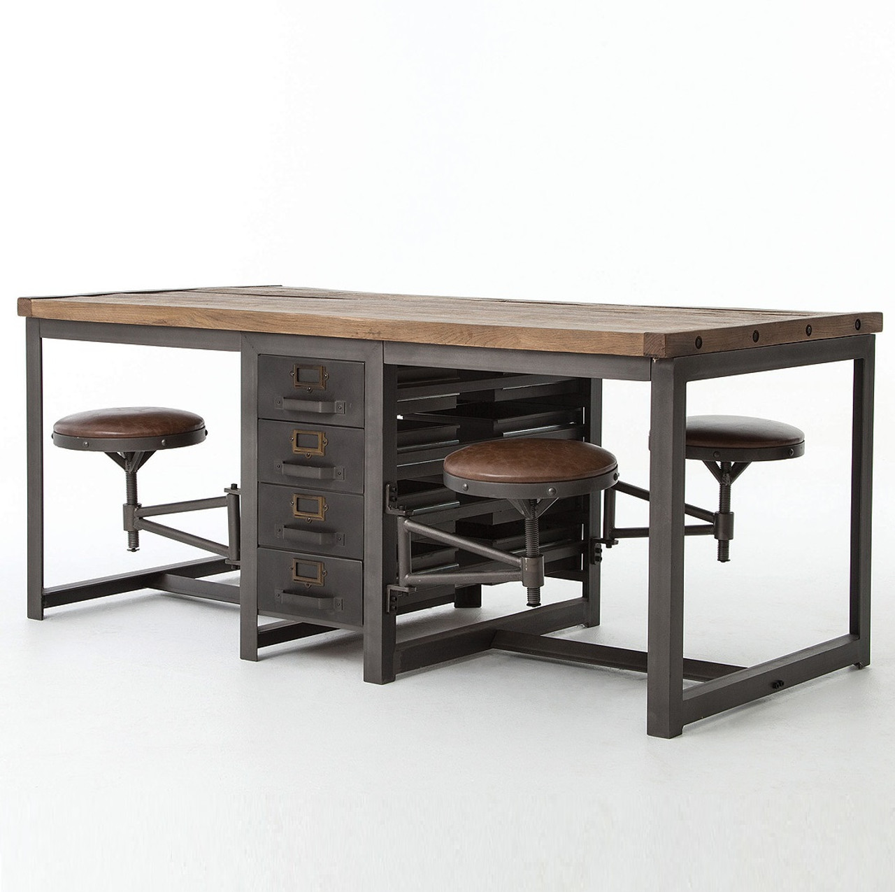 Rupert industrial architect work table desk with attached for Working table design ideas