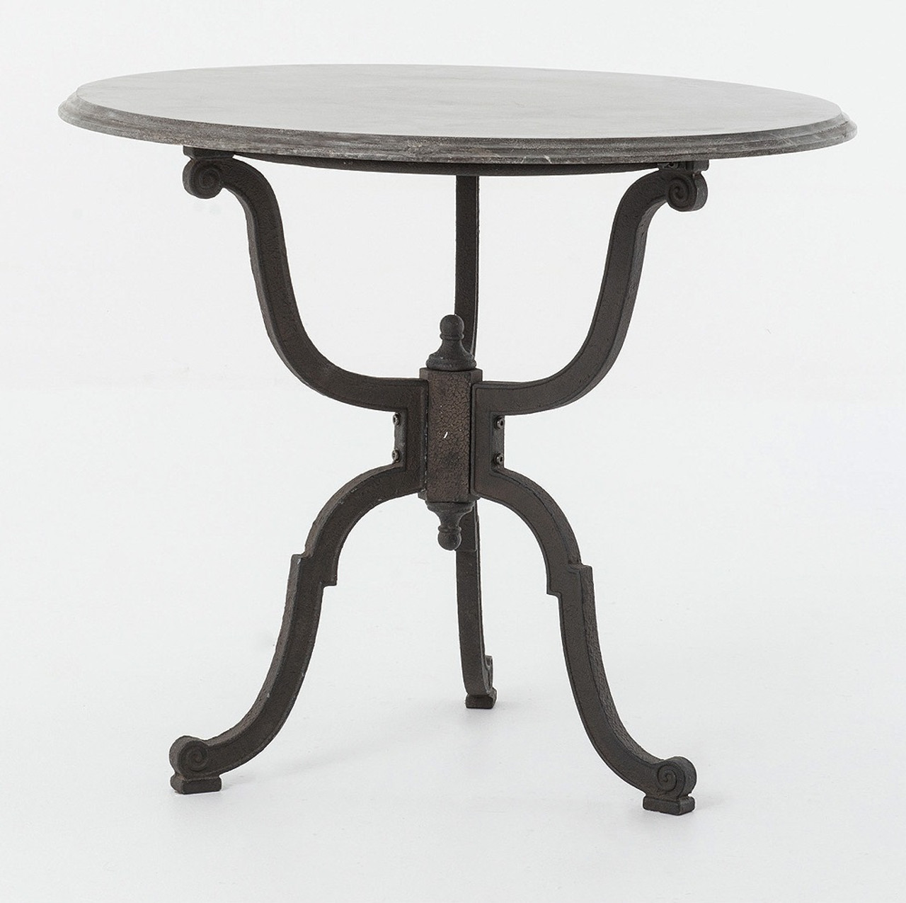 Exceptional Hughes Iron Bistro Pedestal Table With Bluestone Top