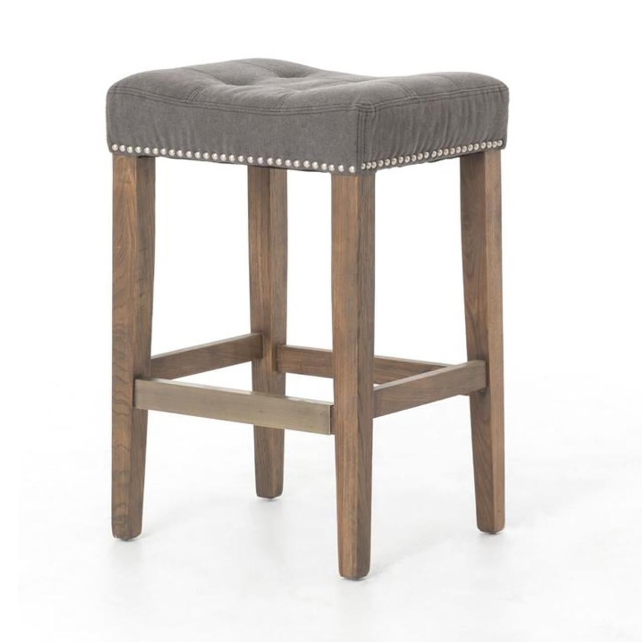 ashford french grey tufted nailhead bar stool