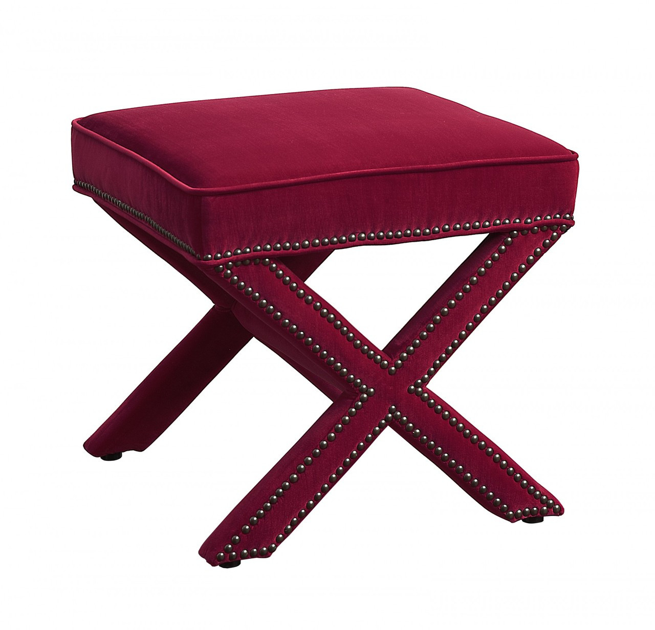 Reese Pink Velvet Square Ottoman Footstool Zin Home