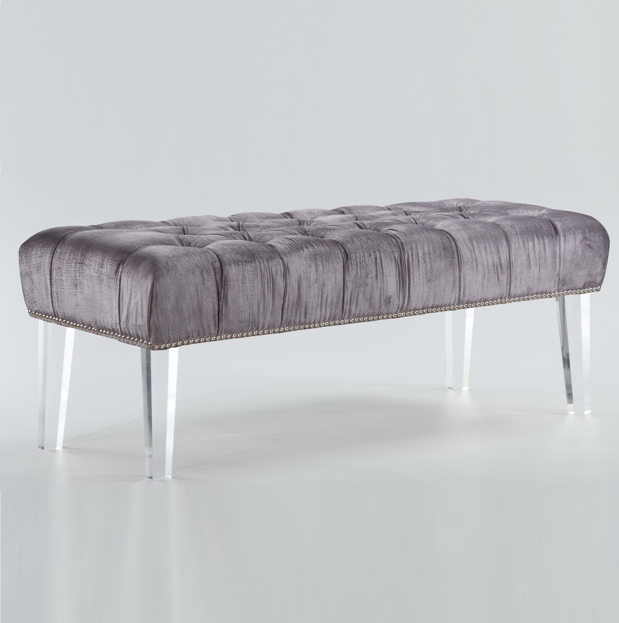 Stella Grey Velvet Tufted Acrylic Bed End Bench & Stella Grey Velvet Tufted Acrylic Bed End Bench | Zin Home islam-shia.org