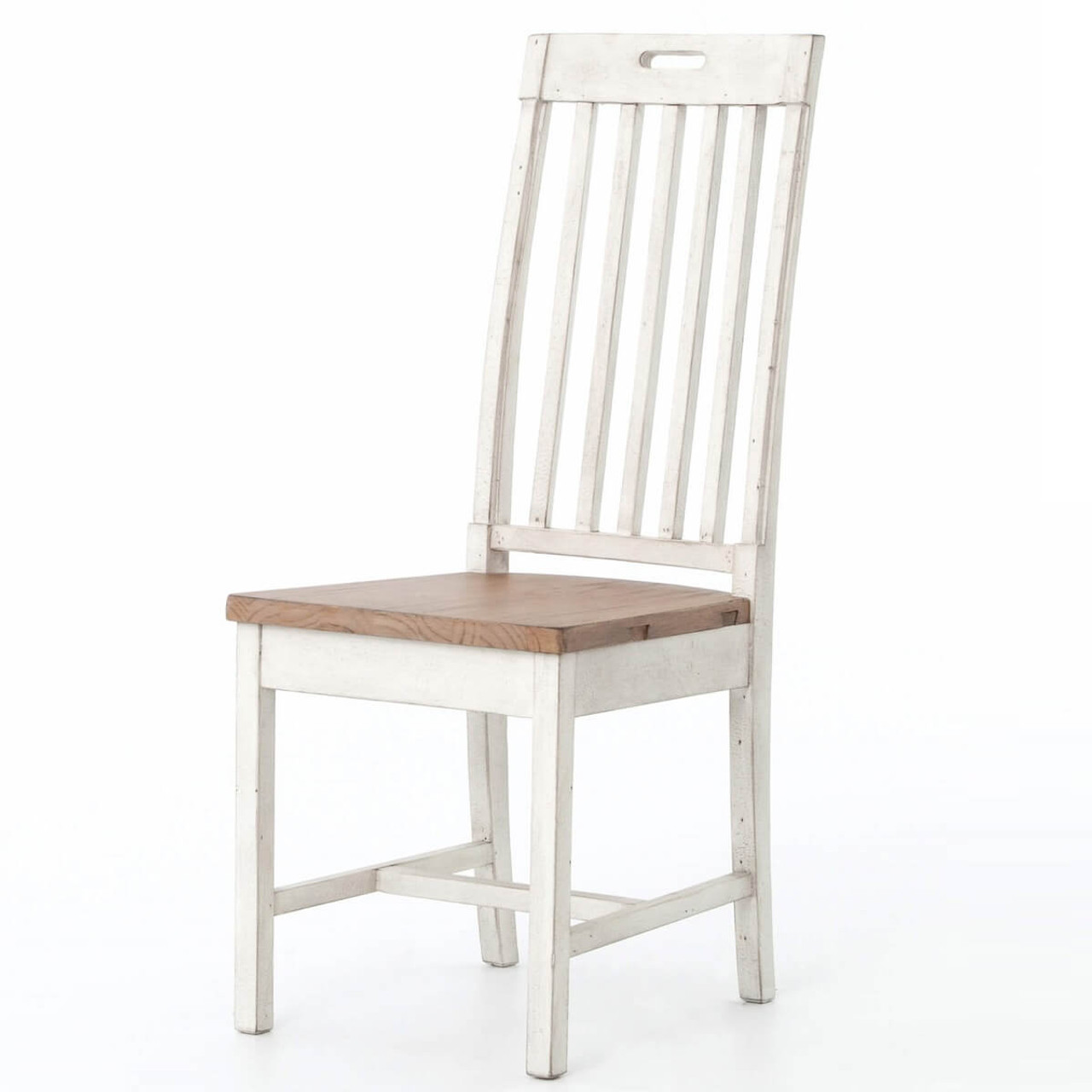 Cintra rustic wood white dining room chair zin home for White wood dining room chairs