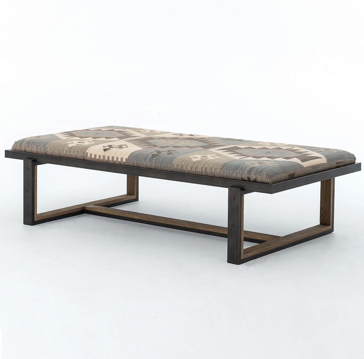 Amazing Industrial Iron And Kilim Coffee Table Ottoman