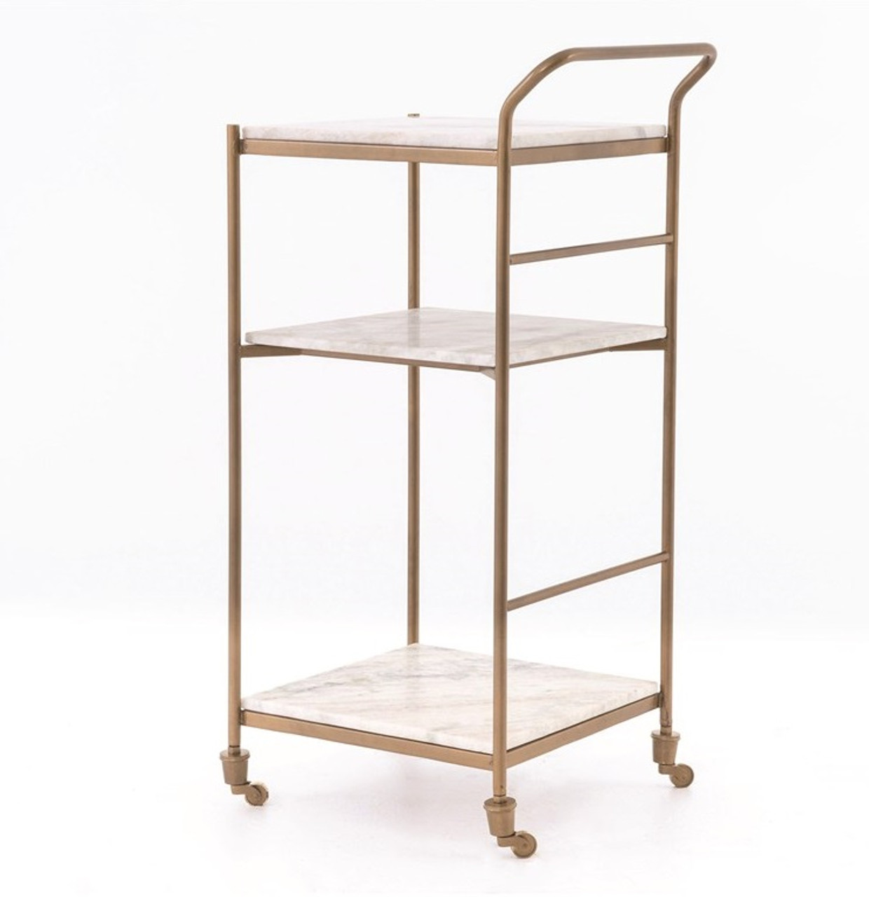 Felix Antique Brass And Marble Slim Bar Cart Zin Home