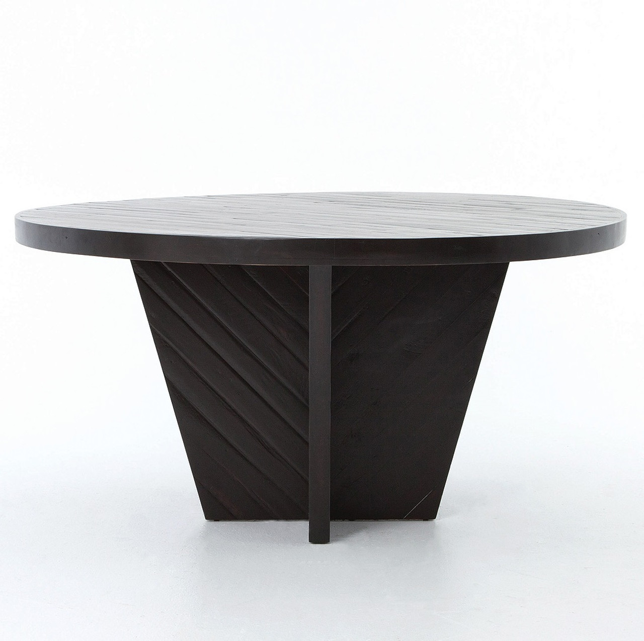 Wood Round Dining Table: Burnished Black Rustic Wood Round Dining Table 59""
