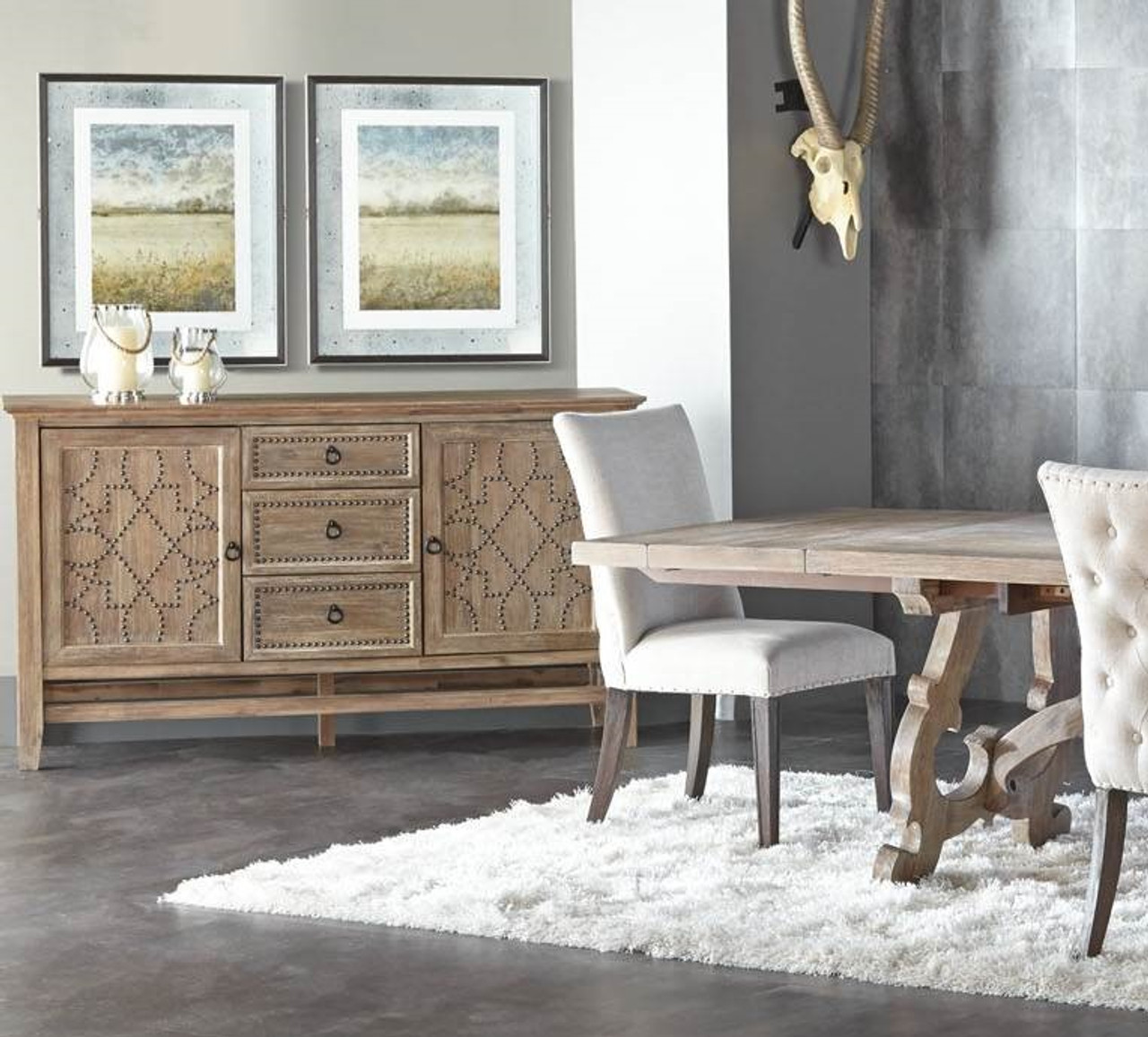 Braxton French Grey Buffet Sideboard with Nailheads - Braxton French Grey Buffet Sideboard With Nailheads Zin Home
