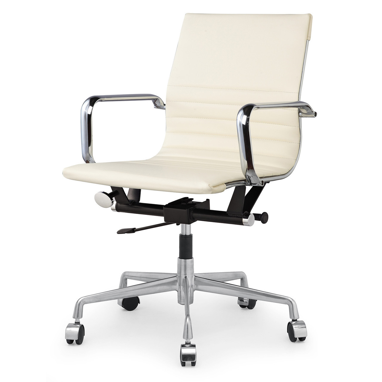Cream vegan leather m348 modern office chairs zin home for Modern leather office chairs