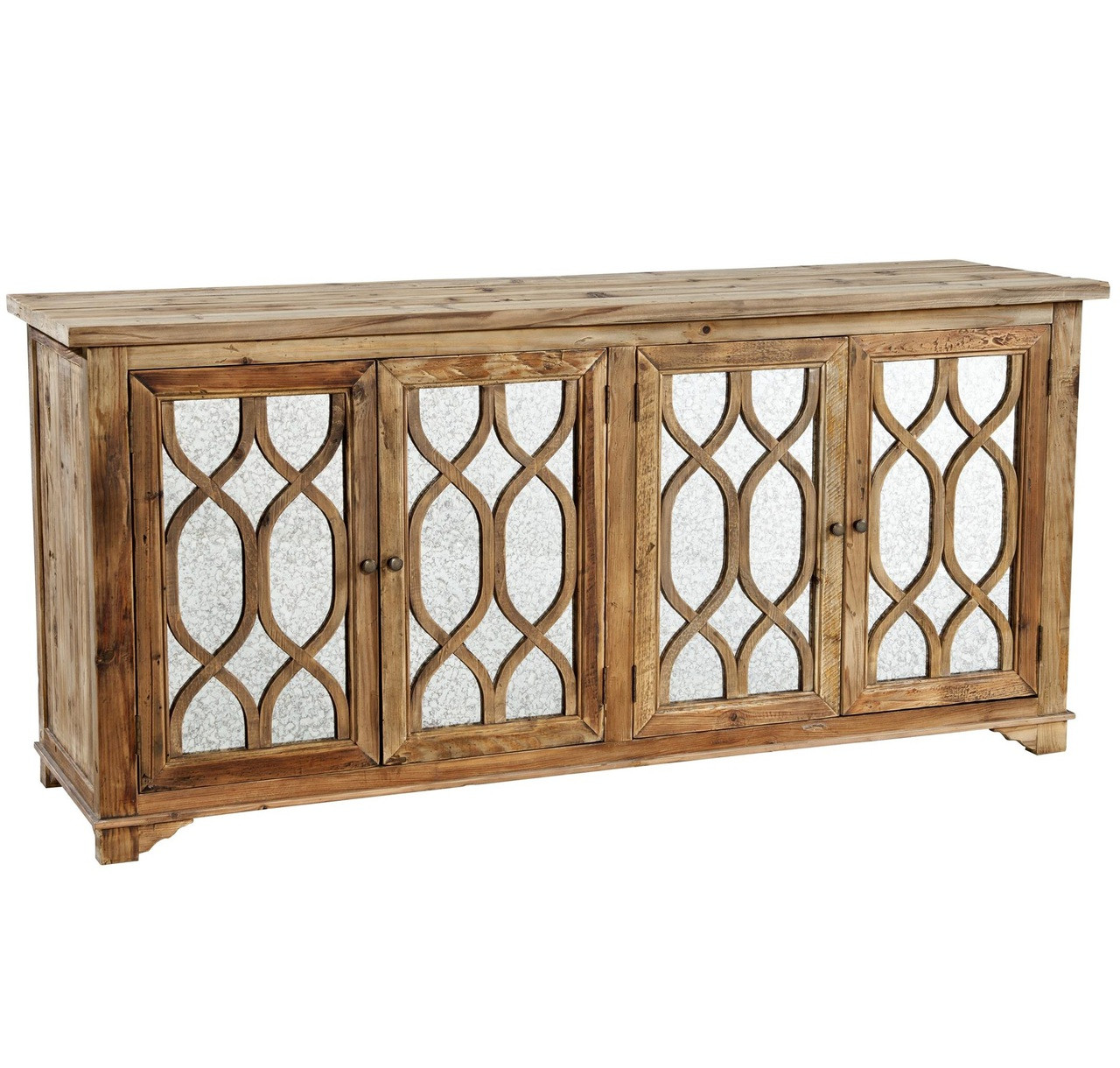 Bedroom Mirrored Furniture French Lattice Reclaimed Wood 4 Door Mirrored Sideboard