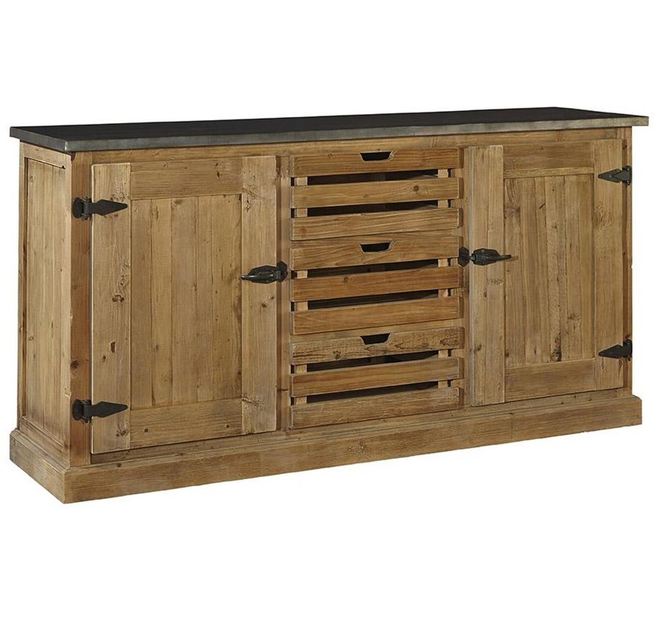 Farmhouse Zinc Top Reclaimed Wood Buffet Sideboard - Farmhouse Zinc Top Reclaimed Wood Buffet Sideboard Zin Home